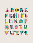 Geometric hand drawn alphabet capital letters set. Easy to edit.