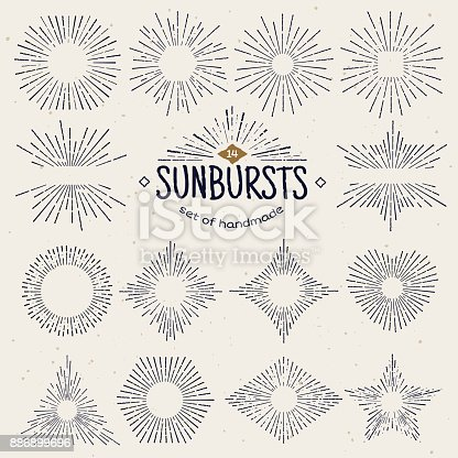 Geometric hand drawn sunburst, sun beams in different forms. Star shining with rays in form of lines, linear sunlight waves. Summer and sunset, sunrise and radial fireworks symbol. Vintage style.