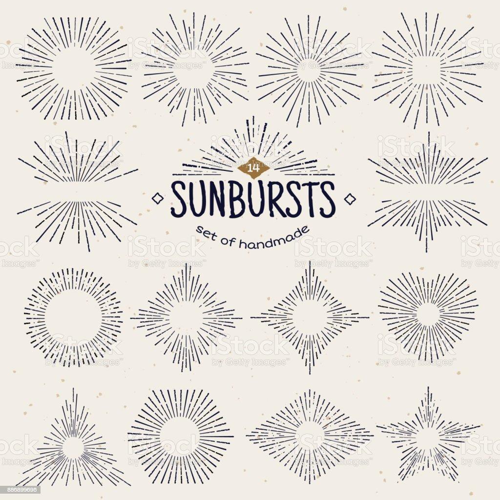 Sunburst géométriques dessinés à la main, des faisceaux de soleil sous différentes formes. Étoile qui brille avec des rayons sous forme de lignes, ondes linéaires de la lumière du soleil. Symbole de feux d'artifice été et coucher de soleil, lever du soleil et radial. Style vintage - Illustration vectorielle