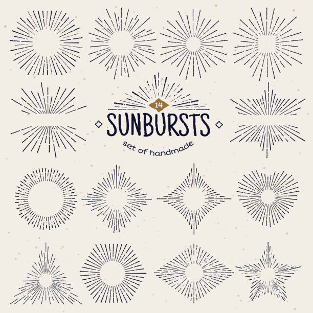 geometric hand drawn sunburst, sun beams in different forms. star shining with rays in form of lines, linear sunlight waves. summer and sunset, sunrise and radial fireworks symbol. vintage style - promień słońca stock illustrations