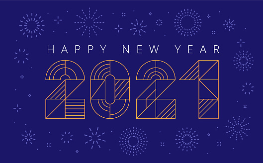 geometric happy new year 2021 greeting card with fireworks
