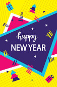 Geometric Happy New Year greeting card template in trendy retro style of 80s