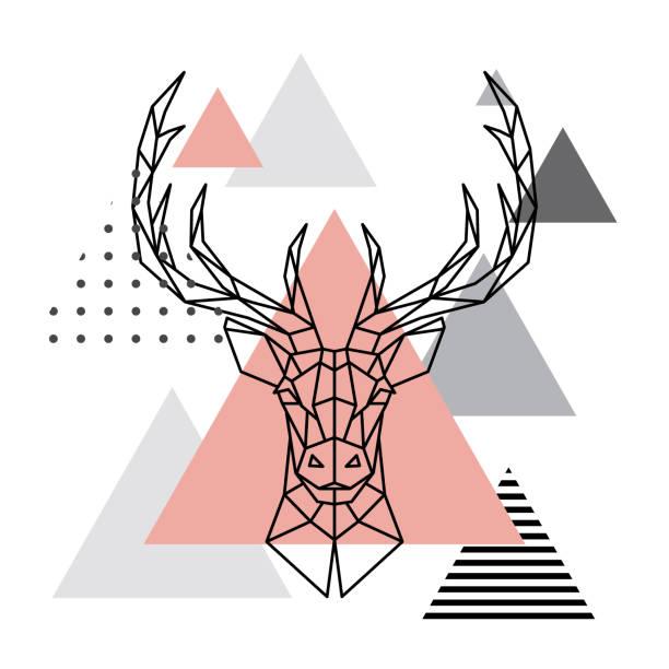 Altura geométrica de un ciervo en un fondo escandinavo. Estilo de anticuados. - ilustración de arte vectorial