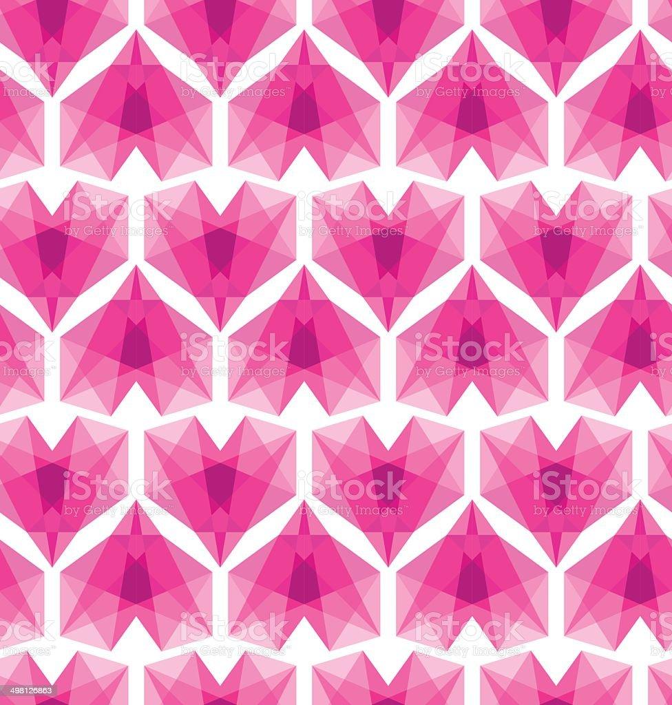 Geometric hearts vector art illustration