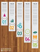 Infographic set with 3D cut paper look hexagons on a textured wood background. Several layers include text, icons, hexagonal shapes and a shadow layer. Wood base. Squares linked to banners with a chain link.