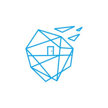 geometric house home polygonal vector icon illustration