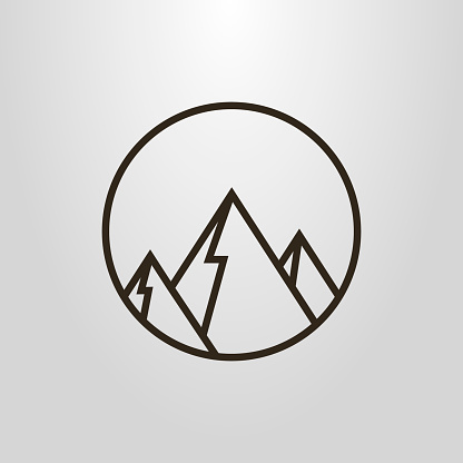 Black and white geometric icon of mountains in the round frame