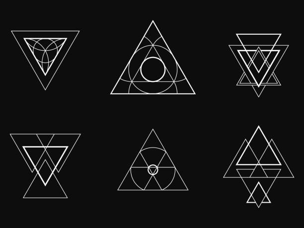 geometric icons, signs, labels, - lodge member stock illustrations