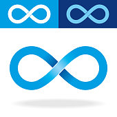 Vector illustration of a Beautiful Geometric Infinity Symbol with tones of blue colour