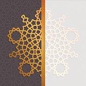 Geometric islamic pattern invitation. Eid al adha greeting card template in arabian style