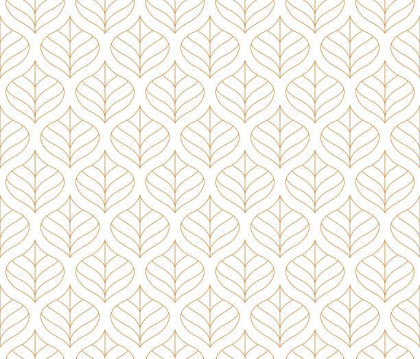 Geometric Leaf Vector Seamless Pattern. Floral Illustration background. Geometric floral vector seamless pattern. Abstract vector texture. Art Deco Leaves background. fall background stock illustrations