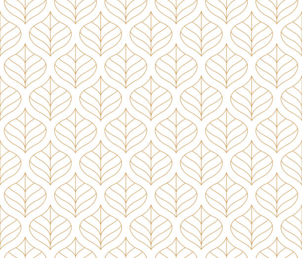 Geometric Leaf Vector Seamless Pattern. Floral Illustration background. Geometric floral vector seamless pattern. Abstract vector texture. Art Deco Leaves background. autumn patterns stock illustrations