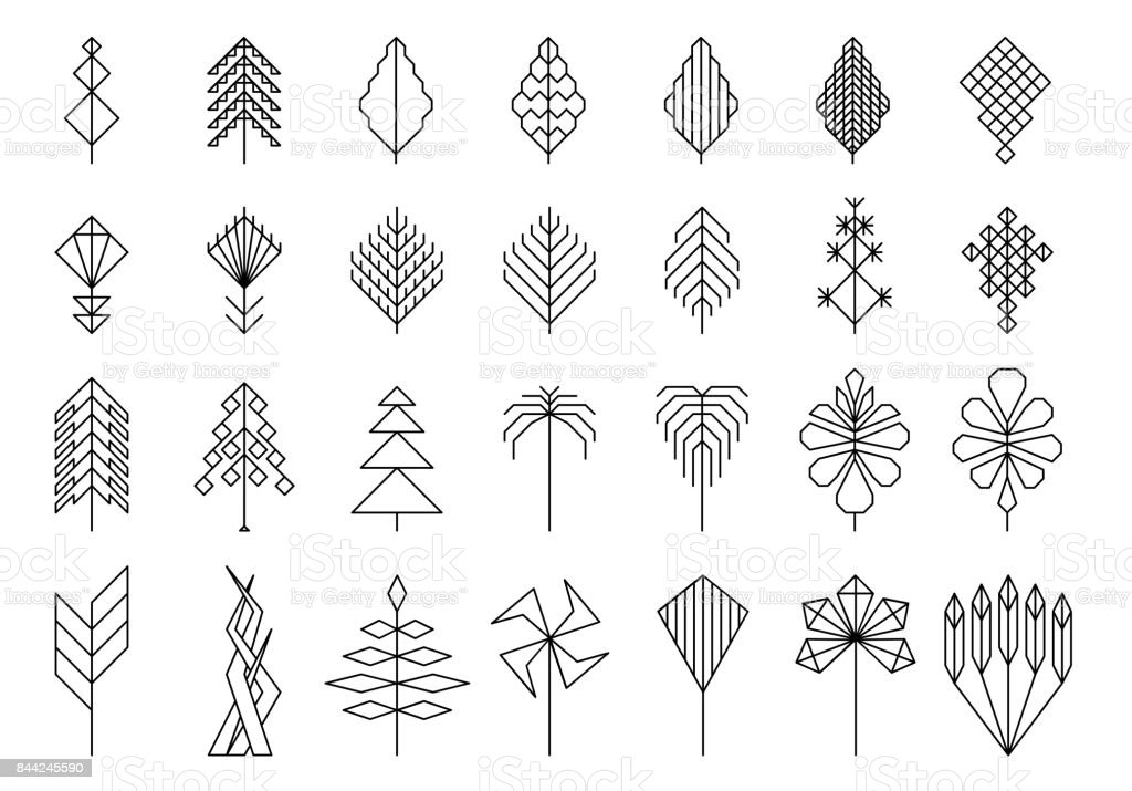 geométricas folhas e árvores, elementos de hipster para design e logotipo - ilustração de arte em vetor