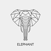 Elephant sitting and smiling on a white background. Character.