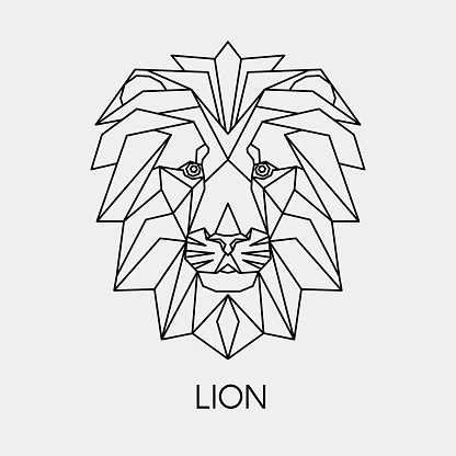 Geometric linear lion. Polygonal head animal. Vector illustration.