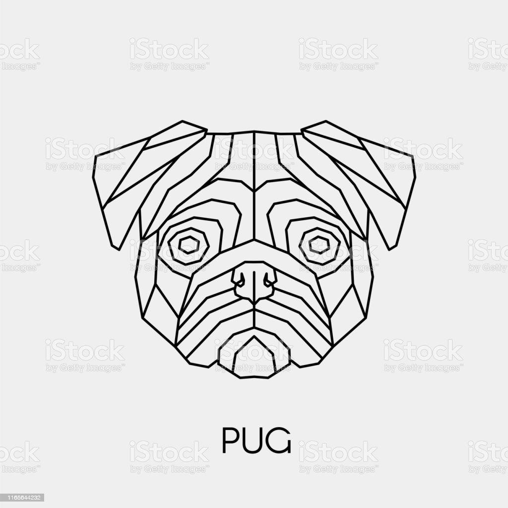 Geometric Linear Pug Polygonal Head Animal Vector ...