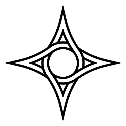 Geometric logo four pointed star with a circle inside, vector symbol of the circulation funds, sign of interweaving