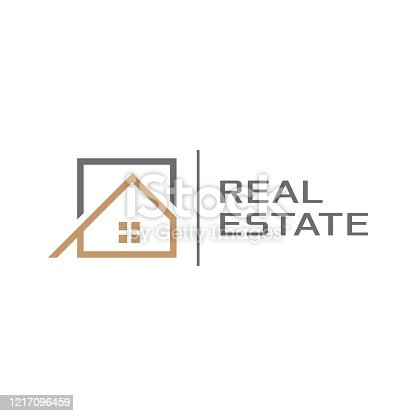 istock Geometric logo related to property, realtor or construction 1217096459