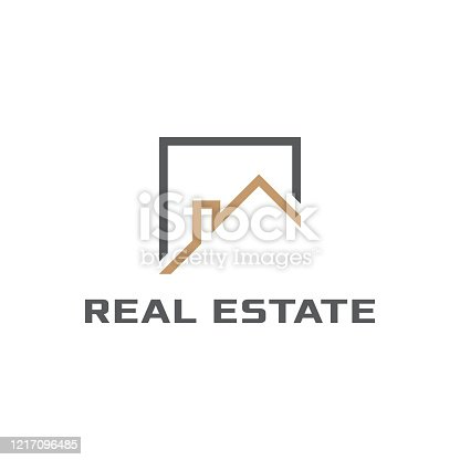 istock Geometric logo related to property, realtor or construction 1217096485