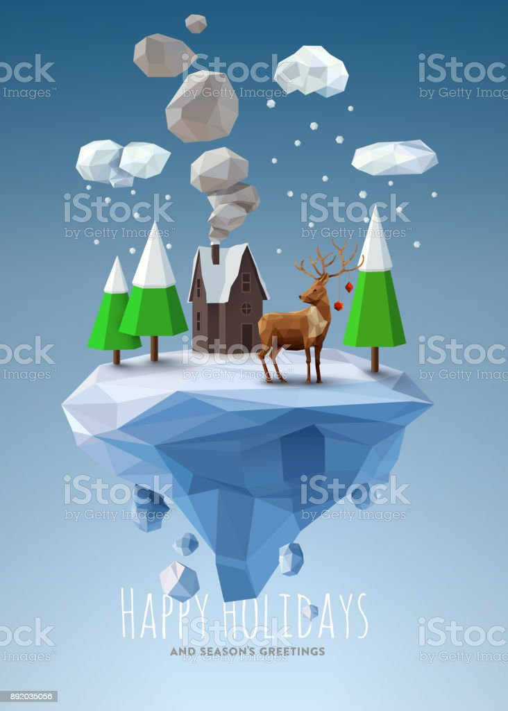 Geometric, low poly winter landscape royalty-free geometric low poly winter landscape stock illustration - download image now