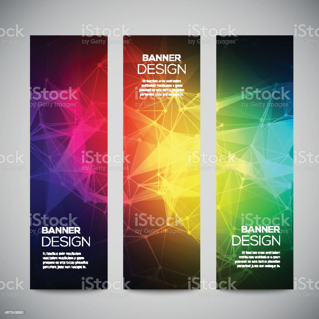 Geometric, lowpoly, abstract modern vector banners set with polygonal background. vector art illustration