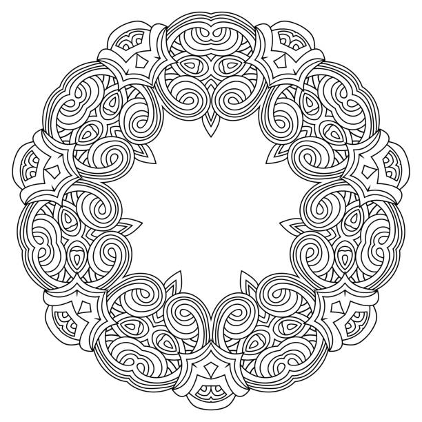 Geometric Mandala. Decorative vector element. Design, Mosaic of a vector kaleidoscope. Diwali celebration. A traditional Indian symbol. Arabesque Vector Coloring page, Coloring book. Contour. Adult coloring book a circle Kaleidoscope Indian symbol for the backgrounds Circular pattern in form of mandala for Henna. Arabesque Vector Coloring page, Coloring book. Contour. Black and white. coloring book pages templates stock illustrations