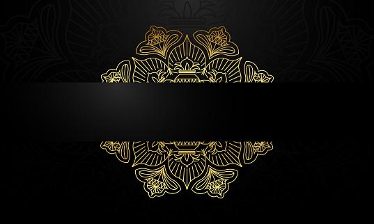 geometric mandala golden and black design background.stock illustration