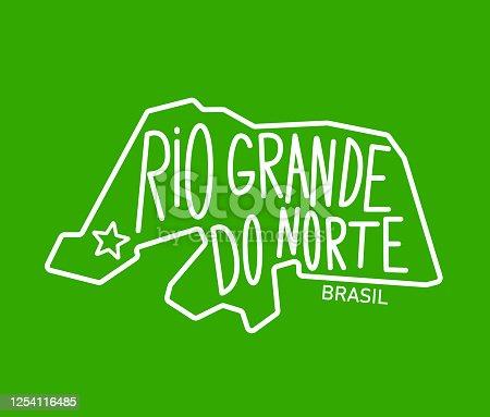 istock Geometric map of the brazilian state of Rio Grande do Norte 1254116485
