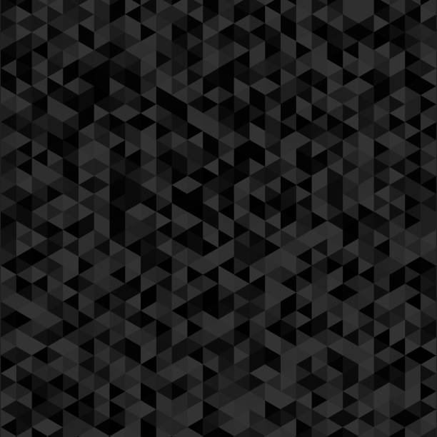 geometric mosaic pattern from black triangle texture, abstract vector background - triangel stock illustrations