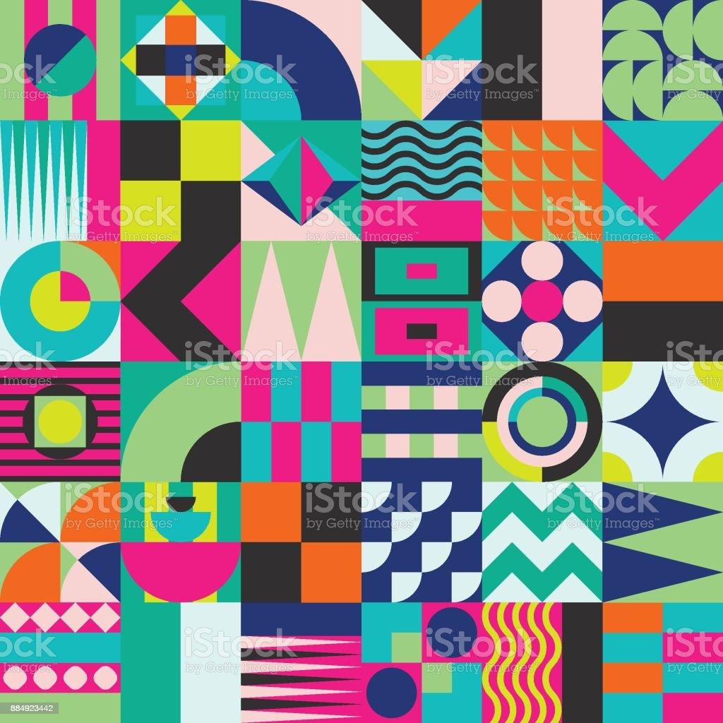 Geometric mosaic seamless pattern vector art illustration