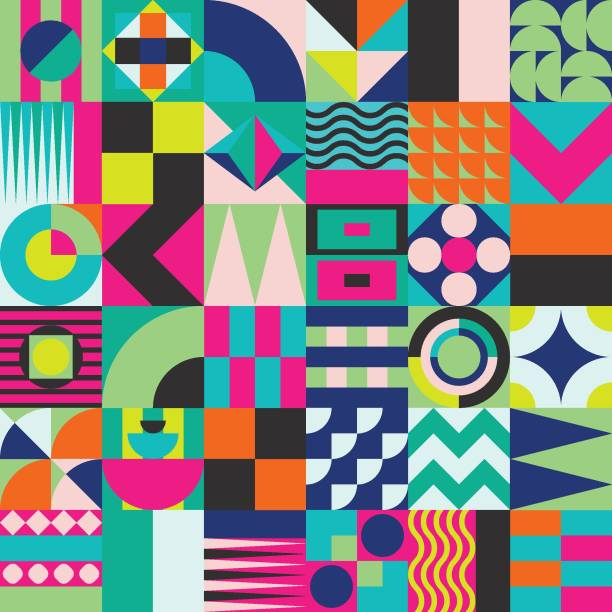 geometric mosaic seamless pattern - vibrant color stock illustrations