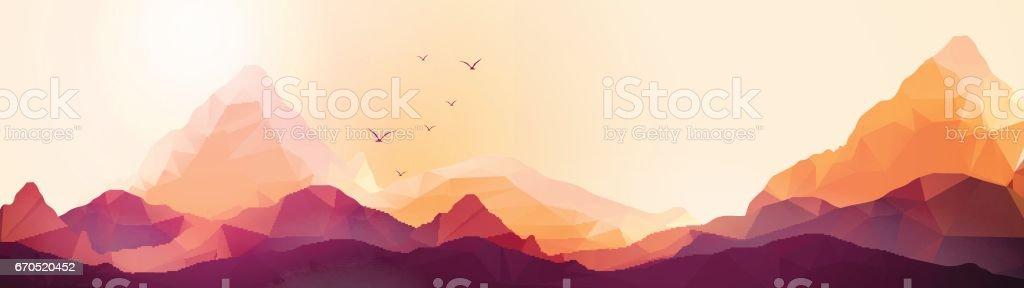 Geometric Mountain and Sunset Background Panorama - Vector Illustration - illustrazione arte vettoriale