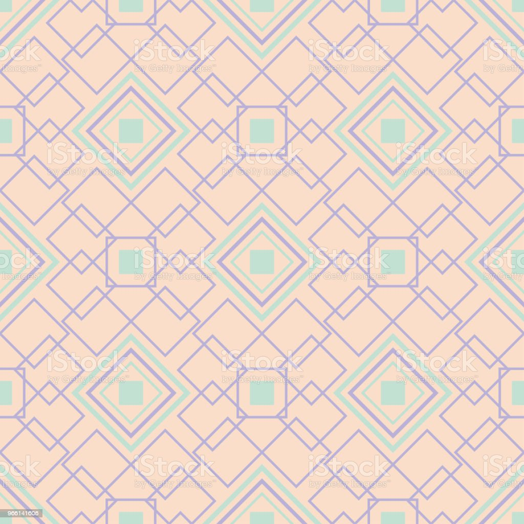 Geometric multi colored seamless pattern. Beige background with violet and blue design elements - Векторная графика Абстрактный роялти-фри