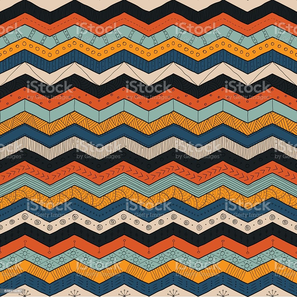 Geometric multicolor chevron or zig zag, seamless tribal pattern vector art illustration
