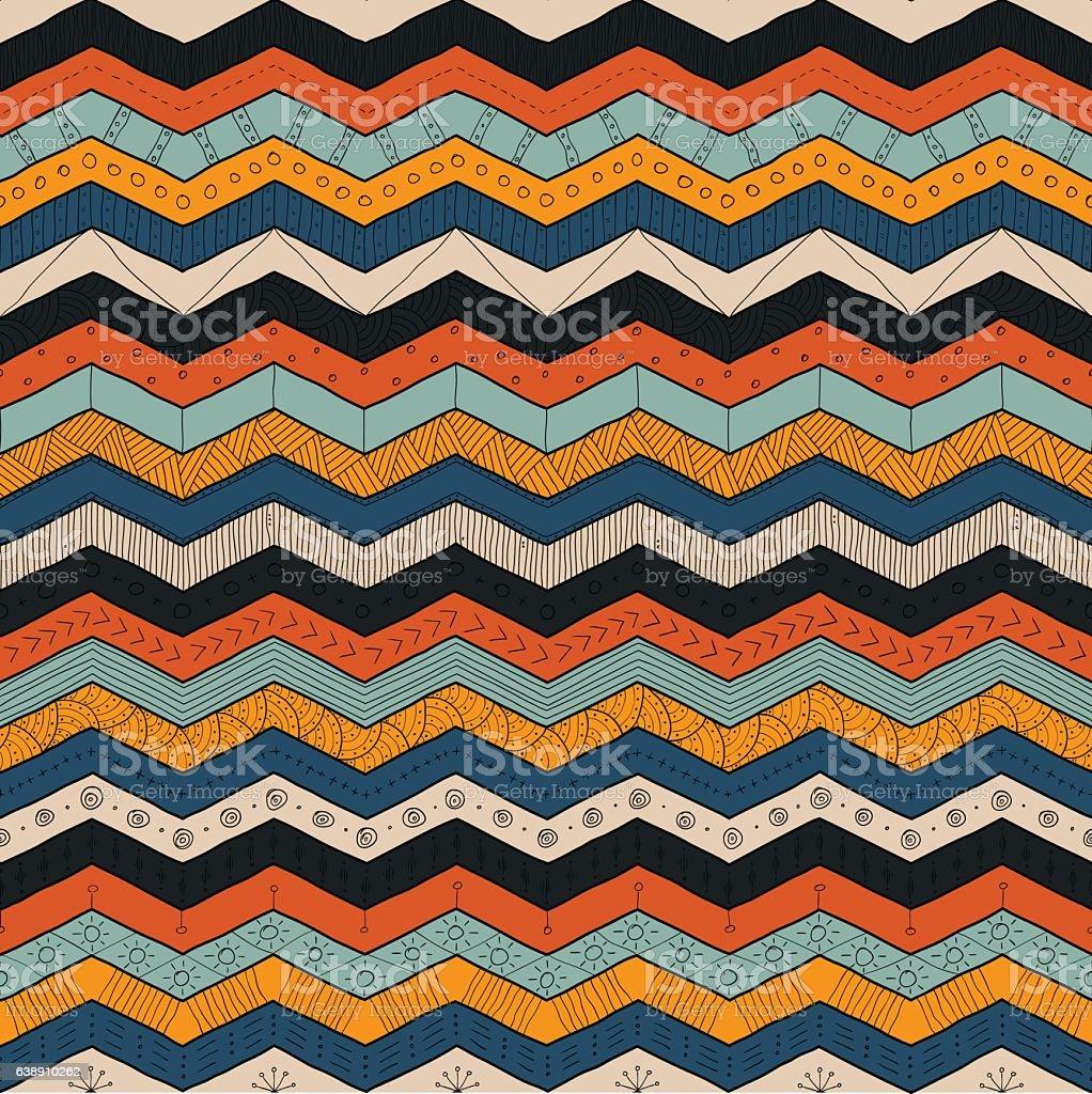 Geometric multicolor chevron or zig zag, seamless tribal pattern - ilustração de arte em vetor