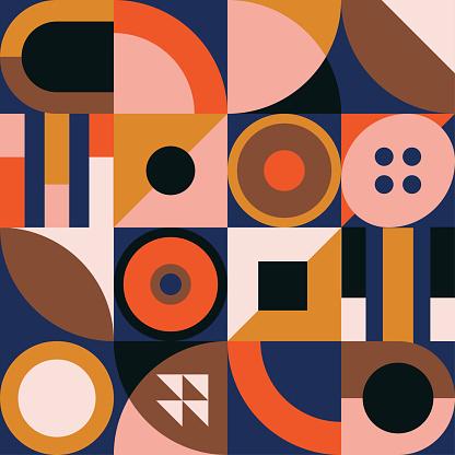 Geometric mural wallpaper concept. Retro colorful background.