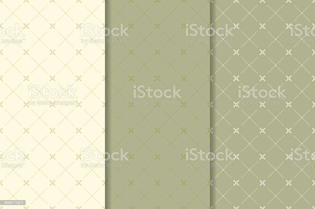 Geometric olive green set of seamless patterns - Векторная графика Абстрактный роялти-фри