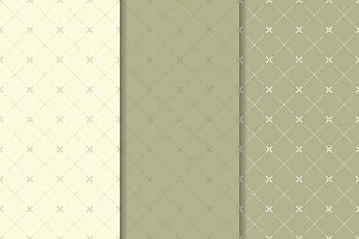Geometric Olive Green Set Of Seamless Patterns — стоковая векторная графика и другие изображения на тему Абстрактный