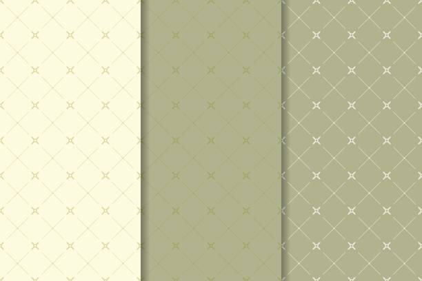 Bекторная иллюстрация Geometric olive green set of seamless patterns