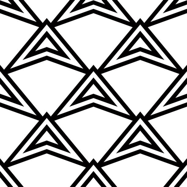 Bекторная иллюстрация Geometric ornament. Black and white seamless pattern