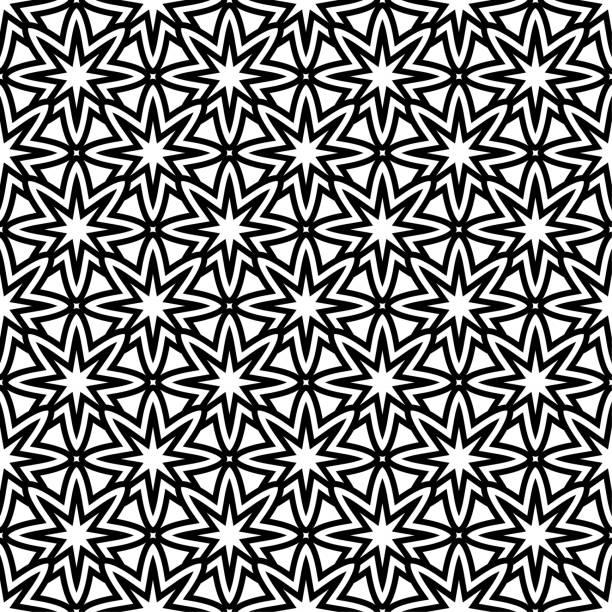 Geometric ornament. Black and white seamless pattern vector art illustration