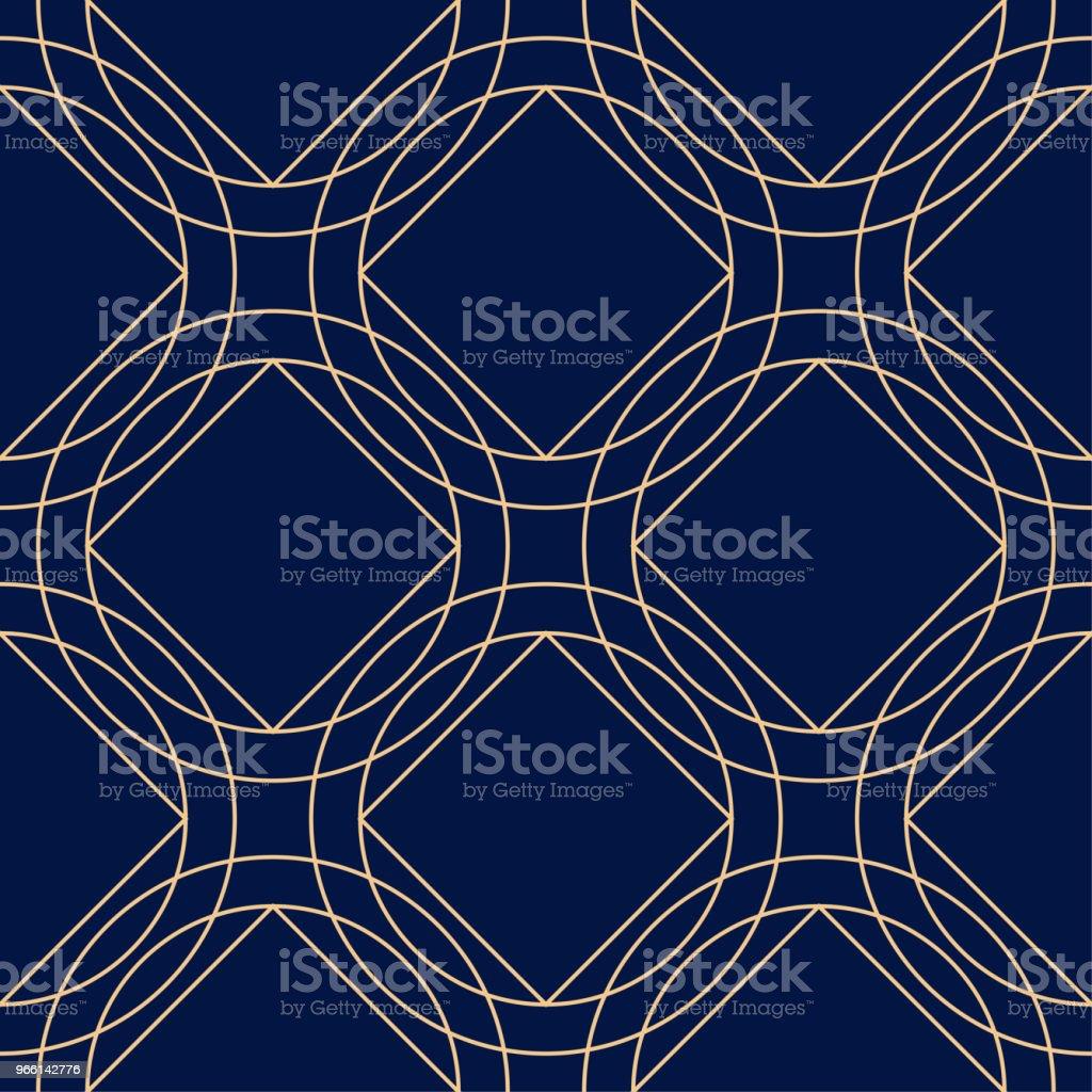 Geometric ornament. Golden blue seamless pattern - Векторная графика Абстрактный роялти-фри