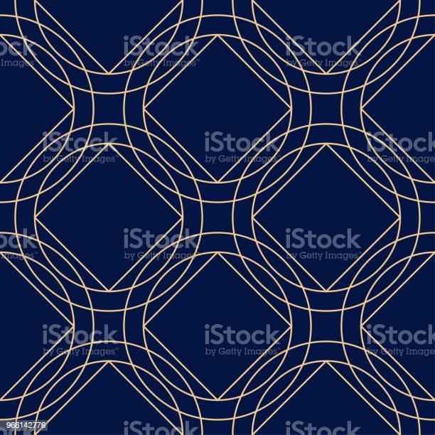 Геометрический Орнамент Золотой Синий Бесшовный Узор — стоковая векторная графика и другие изображения на тему Абстрактный