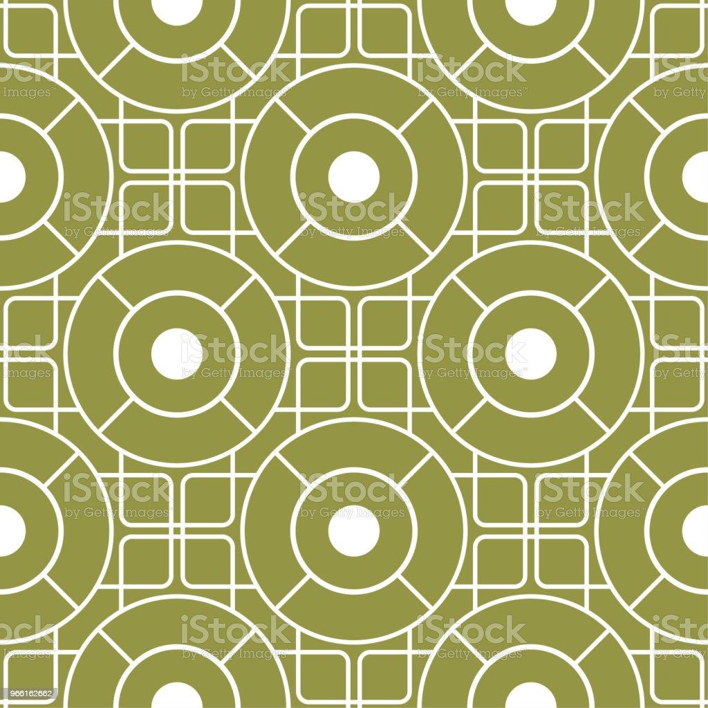 Geometrisk ornament. Olivgrönt och vitt sömlösa mönster - Royaltyfri Abstrakt vektorgrafik