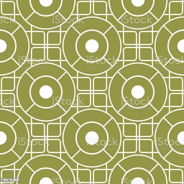 Ornamento Geometrico Motivo Senza Cuciture Verde Oliva E Bianco - Immagini vettoriali stock e altre immagini di Astratto