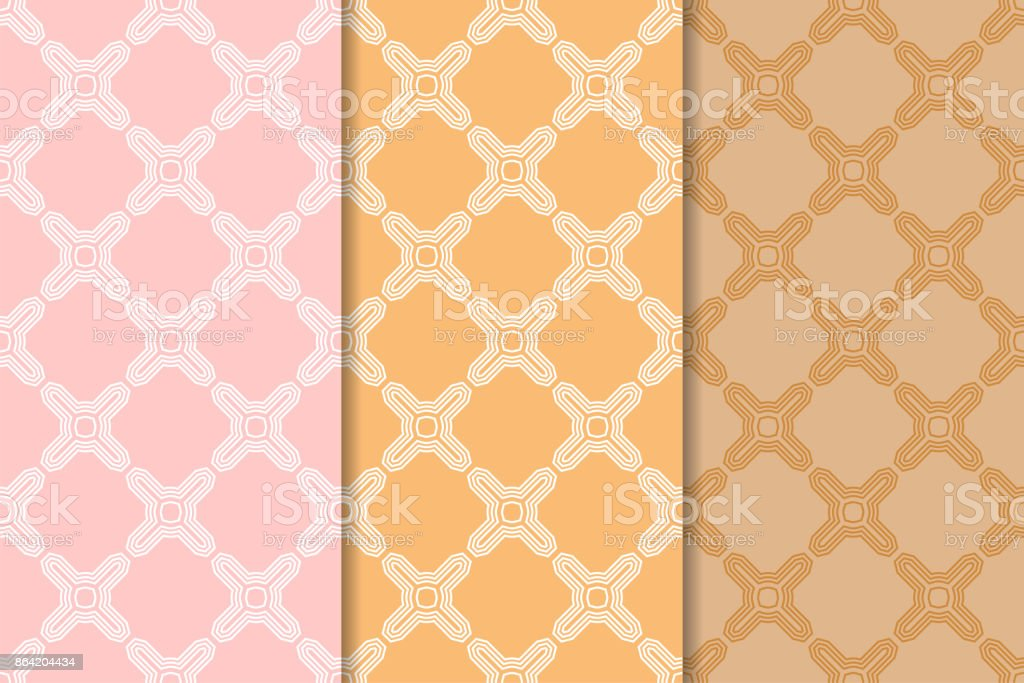Geometric ornamental patterns. Set of orange seamless backgrounds royalty-free geometric ornamental patterns set of orange seamless backgrounds stock vector art & more images of art product