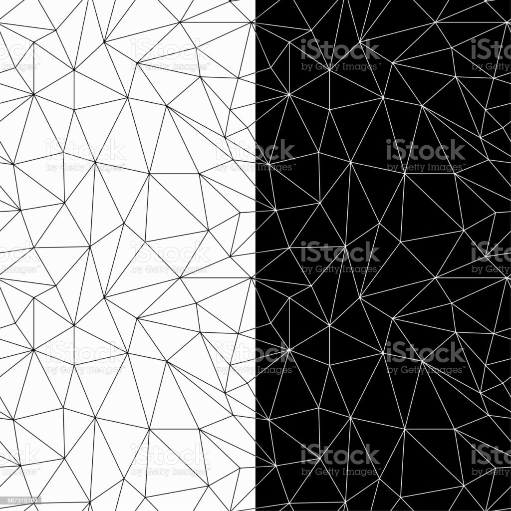 Geometric ornaments. Black and white seamless patterns vector art illustration