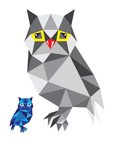 illustrations, cliparts, dessins animés et icônes de geometric owl bird - cage animal nuit