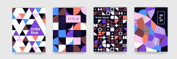 stockillustraties, clipart, cartoons en iconen met geometrische patroon achtergrondstructuur voor poster cover ontwerp. minimale kleur vector van de sjabloon voor spandoek met cirkels, vierkante - patchwork