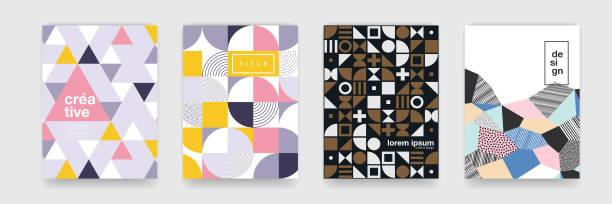 geometrische muster hintergrundtextur für plakat-cover-design. minimale farbe vektor banner vorlage mit kreisen, quadratisch - bauhaus stock-grafiken, -clipart, -cartoons und -symbole
